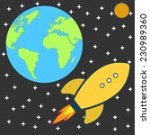 flat retro cartoon rocket... | Shutterstock .eps vector #230989360