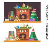 christmas time. interior of the ...   Shutterstock .eps vector #230997523