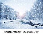 Winter Nature Landscape. Snowy...