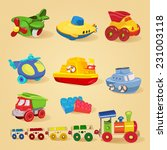 set of toys with airplane  the... | Shutterstock .eps vector #231003118