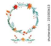 watercolor hand drawn wreath...   Shutterstock .eps vector #231003613
