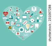 set of vector flat medical... | Shutterstock .eps vector #231007288