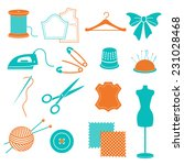 vector set of sewing equipment... | Shutterstock .eps vector #231028468