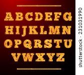 lamp light alphabet shining... | Shutterstock .eps vector #231031990