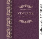 vintage invitation card with... | Shutterstock .eps vector #231034540