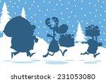 santa claus reindeer and elf...
