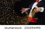 magician hands with magic wand... | Shutterstock . vector #231054490