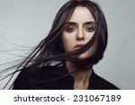 beauty portrait of brunette... | Shutterstock . vector #231067189