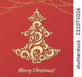 golden christmas tree on red... | Shutterstock .eps vector #231071026