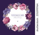 wreath of peonies  watercolor ... | Shutterstock . vector #231099964