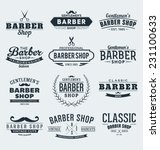 typographic barber shop label... | Shutterstock .eps vector #231100633