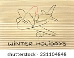 airplane with santa claus hat ... | Shutterstock . vector #231104848