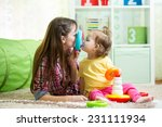 mother with her child daughter... | Shutterstock . vector #231111934