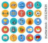 set of sport icons in flat...