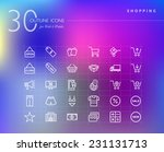 shopping outline icons set for...