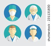 illustration of flat design. people icons collection: doctor and nurse