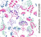 hand painted textured floral... | Shutterstock .eps vector #231141100