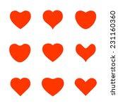 various red heart shape icons | Shutterstock .eps vector #231160360