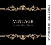 vintage gold frame on black ... | Shutterstock .eps vector #231162538