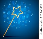golden magic wand on blue... | Shutterstock .eps vector #231163450
