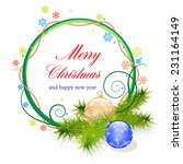 christmas wreath with baubles... | Shutterstock .eps vector #231164149