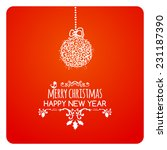 merry christmas card with ball  ... | Shutterstock .eps vector #231187390