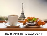 coffee with croissants against...   Shutterstock . vector #231190174
