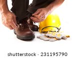 Human Hand Tying Shoelaces On...