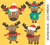 christmas moose or reindeer... | Shutterstock .eps vector #231198043