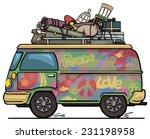 classic vintage hippie van  bus ... | Shutterstock .eps vector #231198958