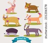 set of various animals  | Shutterstock .eps vector #231206578
