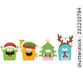 christmas costumed monsters | Shutterstock .eps vector #231210784