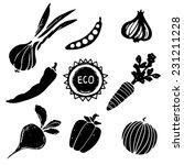 vegetables black silhouettes... | Shutterstock . vector #231211228