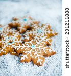 gingerbread snowflakes over... | Shutterstock . vector #231211888