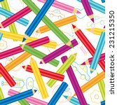 colored pencils background.back ... | Shutterstock .eps vector #231215350