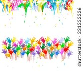 colorful hands with smiling... | Shutterstock .eps vector #231222226