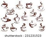 doodle sketch set in brown and... | Shutterstock .eps vector #231231523