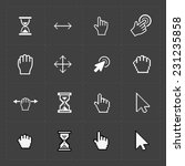 pixel cursors icons on black...