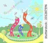 dancing house in cartoon style | Shutterstock . vector #231287596