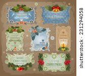 christmas vintage labels set.... | Shutterstock .eps vector #231294058