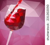 wine glass with red wine with... | Shutterstock .eps vector #231302050