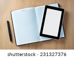 close up tablet gadget above... | Shutterstock . vector #231327376