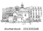 the town square in krakow.... | Shutterstock .eps vector #231333268
