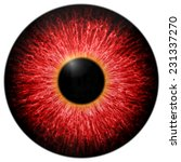 Illustration Of Red Scary Eye...