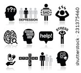 depression  stress icons set  ... | Shutterstock .eps vector #231375460