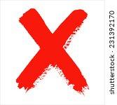 x   red handwritten letter on... | Shutterstock . vector #231392170