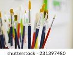 various paint brush closeup   Shutterstock . vector #231397480