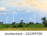 meadow with wind turbines... | Shutterstock . vector #231399700