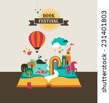 open book with set of vector... | Shutterstock .eps vector #231401803