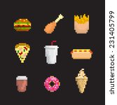 fast food icon set  pixel art... | Shutterstock .eps vector #231405799